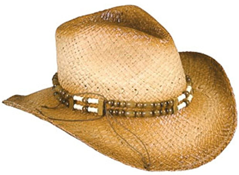 7f9134f8e23 Amazon.com  New 2-Tone Woven Cowboy Cowgirl Hat with Beaded Band one size   Clothing