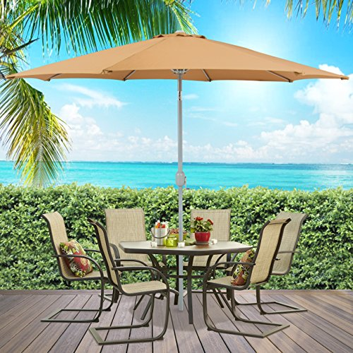 Best Choice Products Patio Umbrella 9' Aluminum Patio Market Umbrella Tilt W/ Crank Outdoor