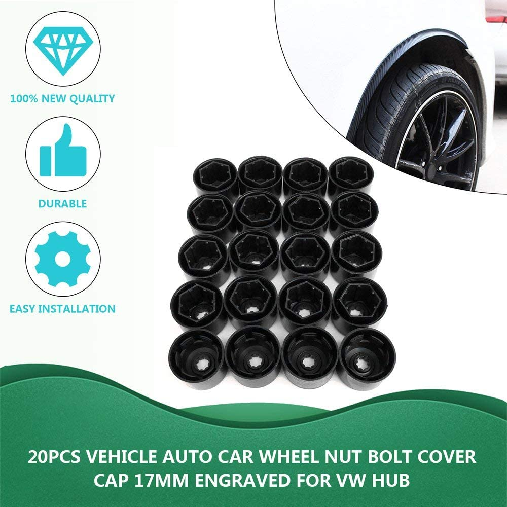 Amerryllis 20Pcs ABS Plastic Vehicle Auto Nut Bolt Cover Cap Car Wheel Nut Bolt Cover Cap 17mm Black Engraved for VW Hub