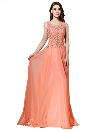 Sarahbridal 2017 Women A Line Long Prom Scoop Chiffon Beaded Dresses Party Gowns Dress With Sequins