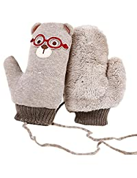 1 Pair Winter Girls Baby Cute Thick Gloves Mittens With String (3-10 Years)