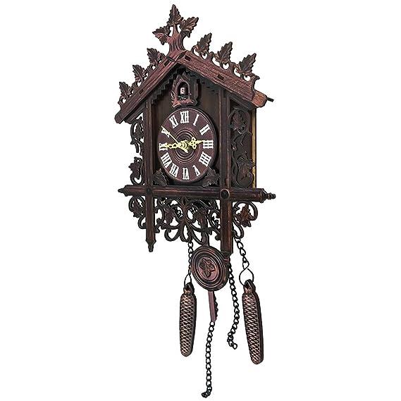 B Blesiya 2pcs Reloj de Pared de Cuco de Madera Antiguo con Péndulo Adorno para Sala de Estar Oficina Cuarto: Amazon.es: Hogar