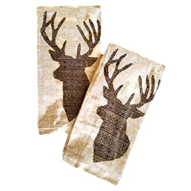 Deer Head Rustic Lodge Cotton Kitchen Towels Set of 2