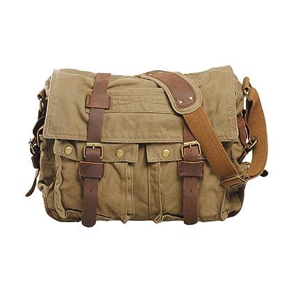 b3016707d9 VRIKOO Vintage Military Soft Canvas Crossbody Sports Casual Shoulder Bags  Satchel School Messenger Bag (Army Green