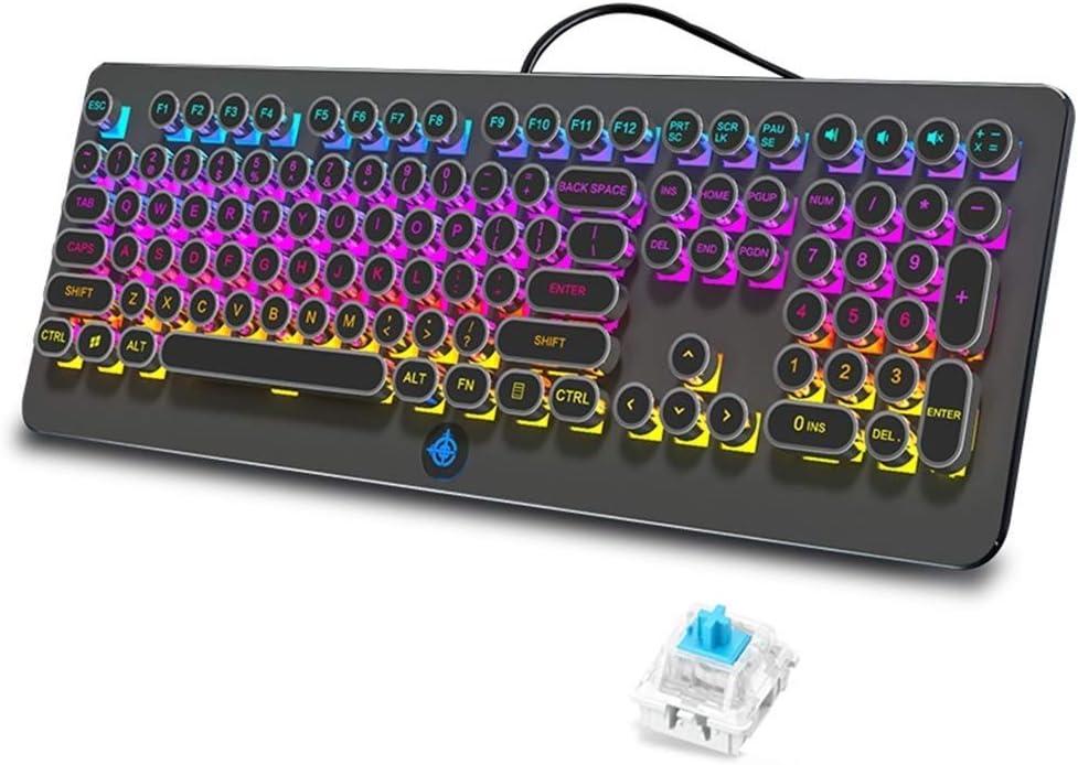Lflzcp Gaming Mechanical Keyboard Plating Retro Punk Keycaps 108 Keys Blue Switch RGB LED Metal Ergonomic Multimedia Wired USB Keyboard for PC Laptop Computer Color : Black