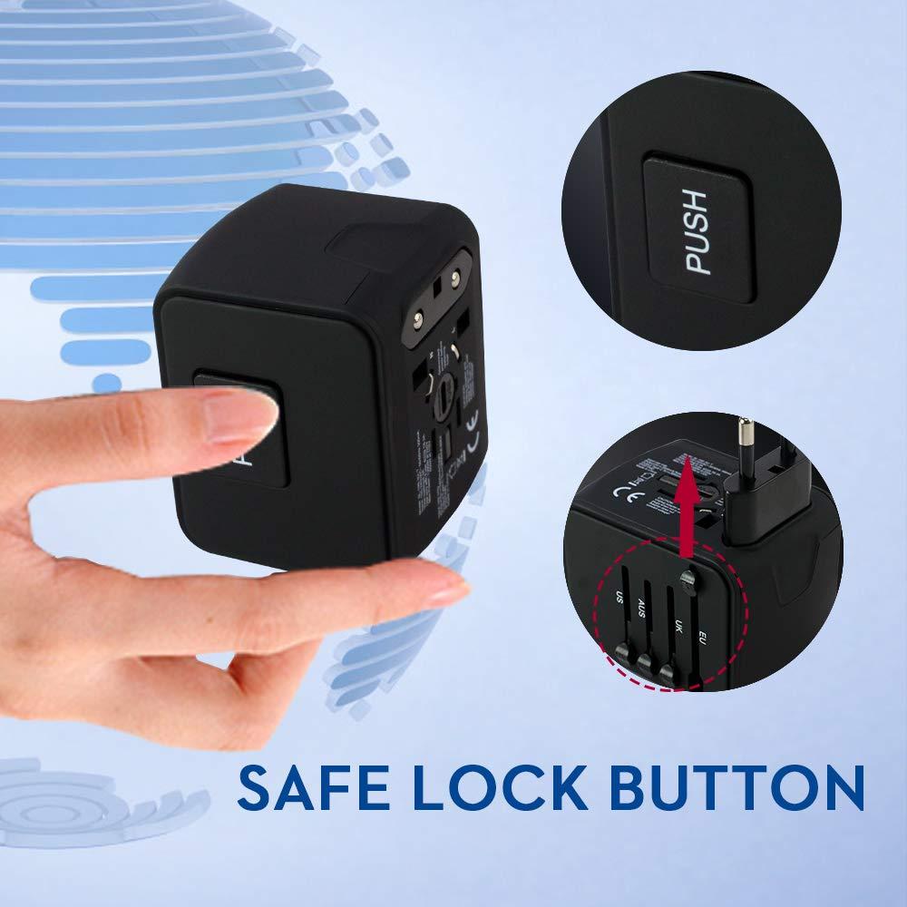 NIERBO Reiseadapter Universeller Stromadapter mit 3 USB und 1 Typ-C f/ür 200+ L/ändern Europa USA UK Australien China Internationale Netzadapter Auto-r/ückstellende Sicherung Reisestecker Schwarz