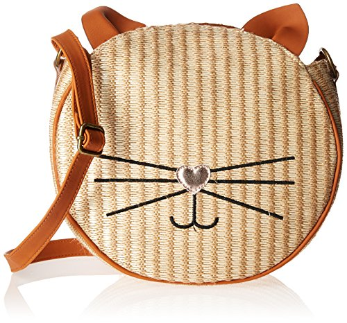 T-Shirt & Jeans Cat Face Straw Cross Body, Natural