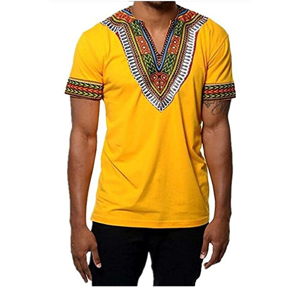 Gtealife Men's African Print Dashiki T-Shirt Tops Blouse (1-Yellow, XL)