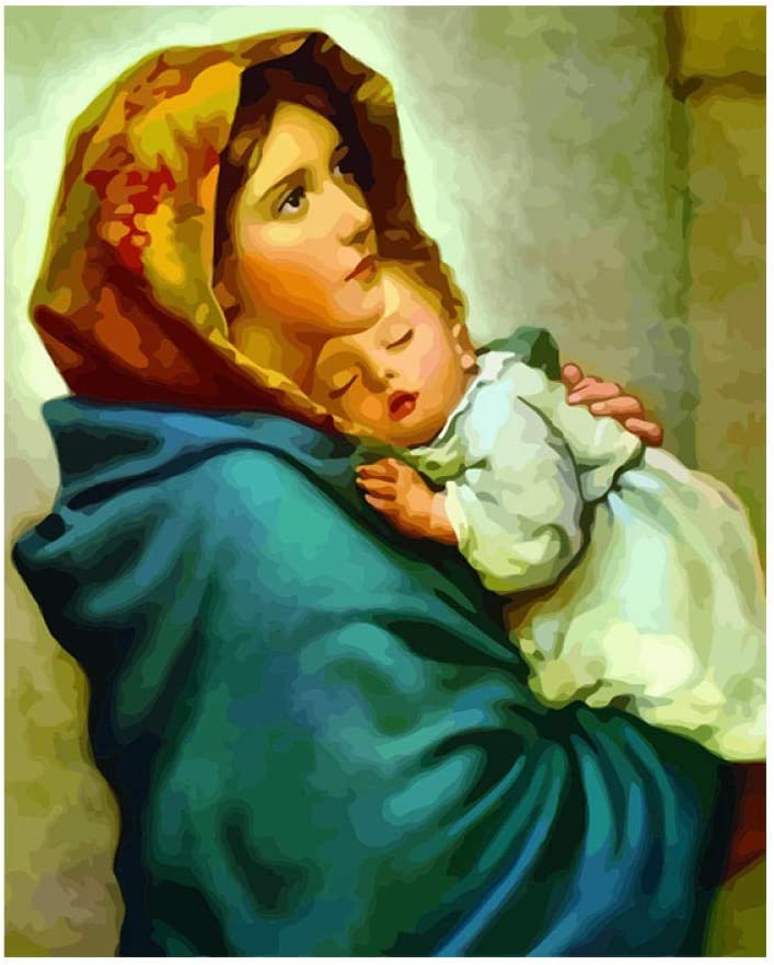 Napain Pintar por Numeros Adultos Niños DIY Pintura al óleo Kit Virgen María Lienzo de Bricolaje Decoración para Hogar Regalo 40x50cm Sin Marco