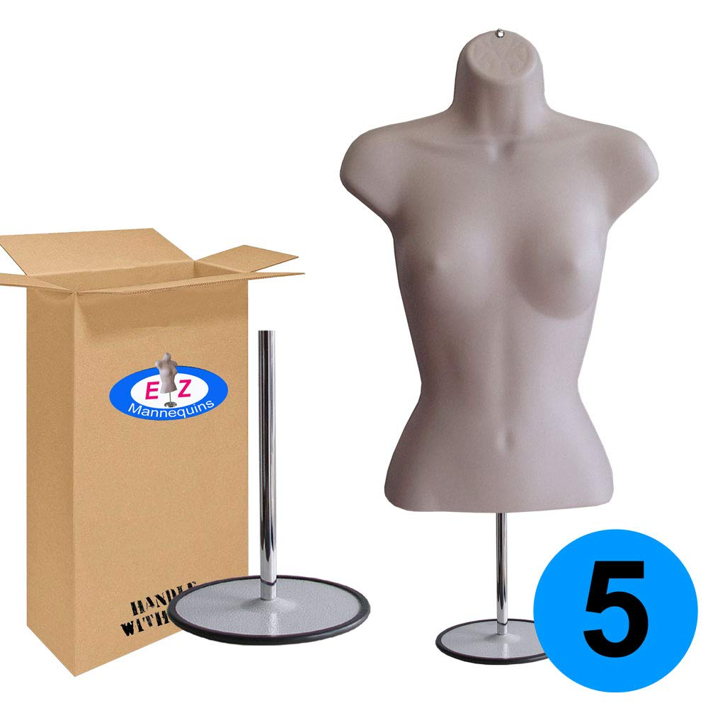 5-Pack Female Mannequin Torso, Dress Form Hollow Back Body Tshirt Display, w/Metal Stand for Counter Top by EZ-Mannequins for Craft Shows, Photos or Design, Easy to Assemble and Store, S-M Sizes.