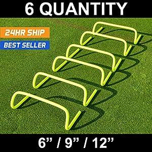 "Forza 6""/9""/12″ Speed Hurdles for Agility Training [Set of 6] | Hurdles Training Equipment | Multi-Sports Equipment | Speed & Agility Training Equipment"
