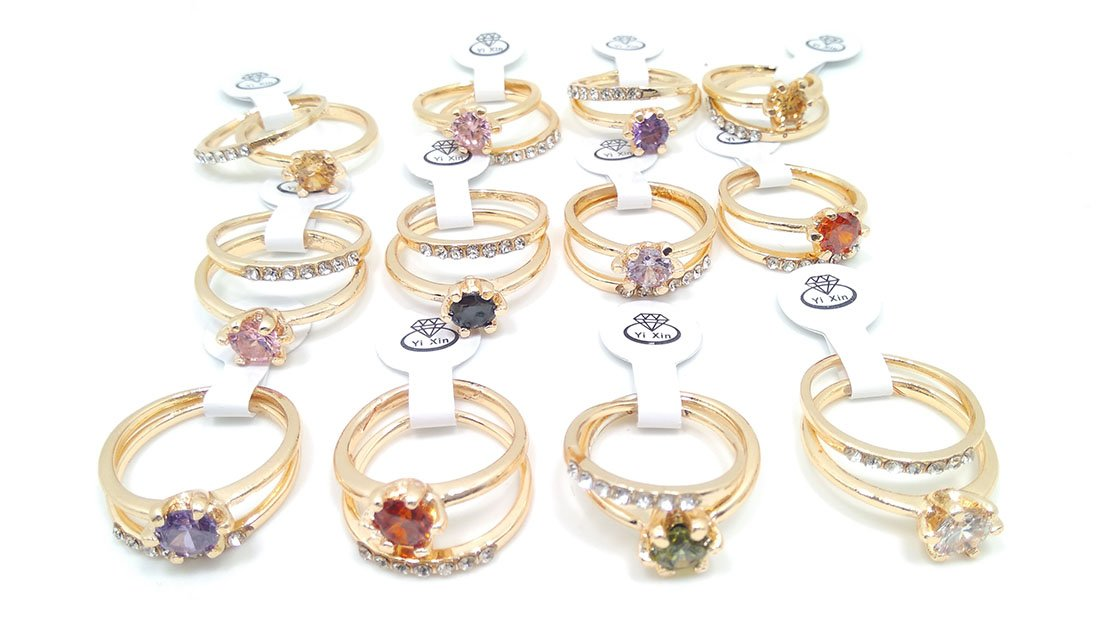 AIHIQI Fashion Wholesale Lots Colorful Rhinestone Cz Finger Ring for Mens Womens Gift (10Pair-No Box)
