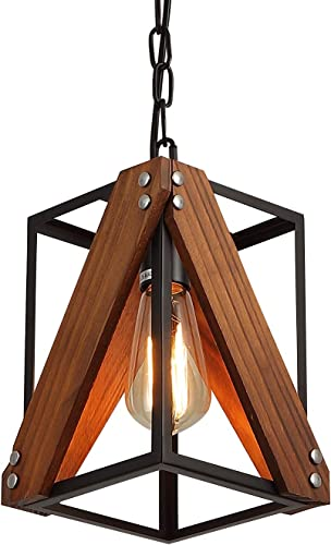Rustic Industrial Wood Pendant Light with Metal and Wood Cage, One-Light Adjustable Chains Mini Pendant Lighting Fixture for Kitchen Island Cafe Bar Farmhouse, Black