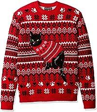 31f2394bd79 Blizzard Bay Men s Black Cat Ugly Christmas Sweater