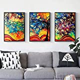 #10: Cindere 3Pcs Frameless Printed Oil Painting Colorful Abstract Painting Modern Canvas Wall Art for Home Office Decoration