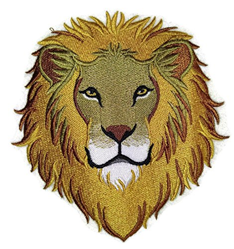 Nature weaved in threads, Amazing Animal Kingdom [Mighty Lion Face] [Custom and Unique] Embroidered Iron on/Sew patch [5.32
