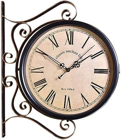 ZR&YW Doble Cara Reloj De Pared, Reloj De Pared De La Estación De Doble Cara Jardín