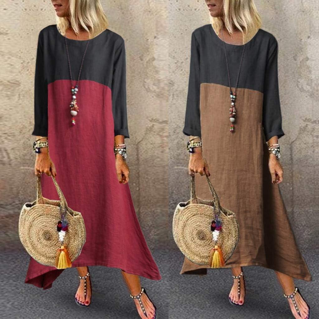 TIMEMEAN Women Plus Casual Loose Long Sleeve Solid Lady Splice Linen Long Maxi Dress