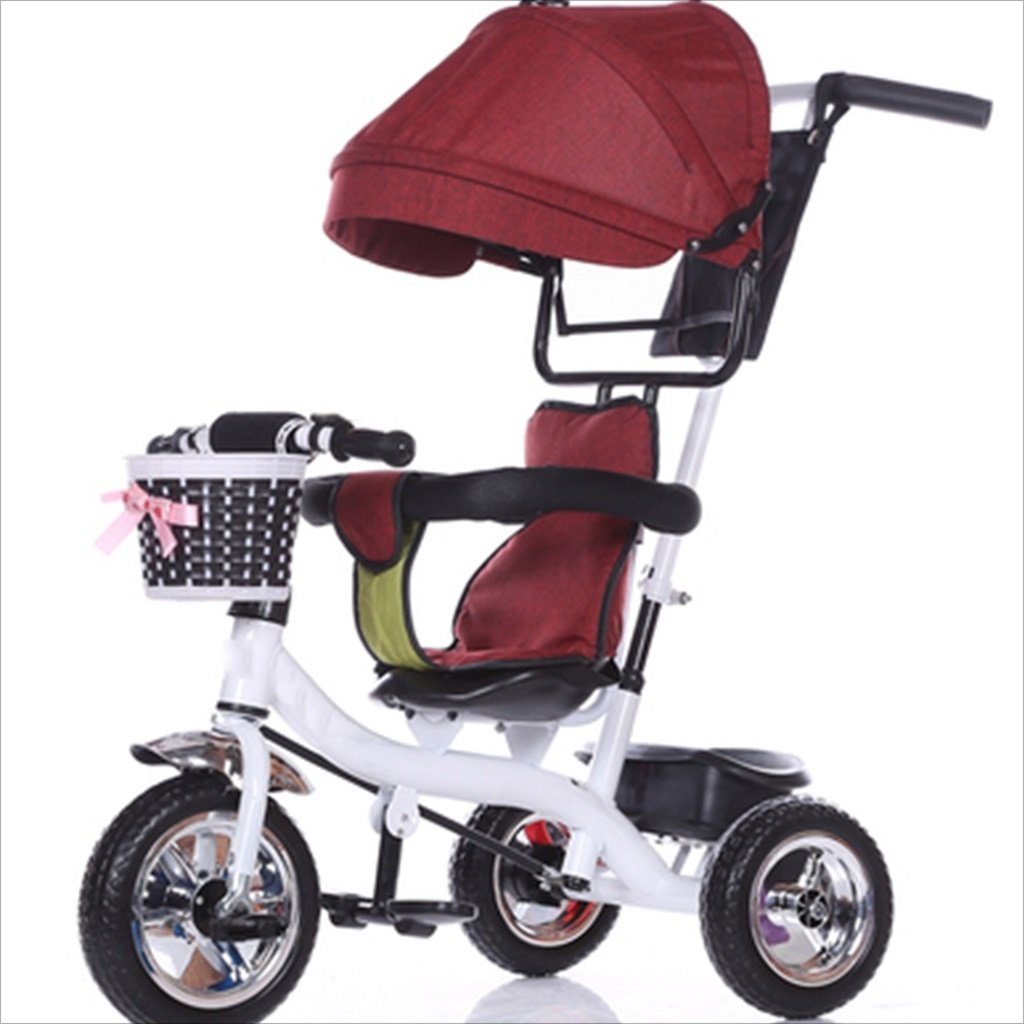 子供の屋内屋外の小さな三輪車6ヶ月の6歳の赤ちゃんの自転車の少年の自転車の自転車-6歳の赤ちゃんの3つのホイールトロリー天井、固体プラスチックホイール、(赤、白) B07DVF1XJB