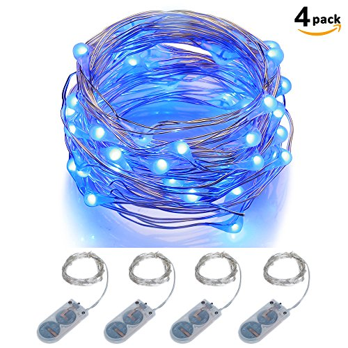 ITART Micro LED String Lights Battery Powered Set of 4 Blue Mini String Light 20 LEDs / 6ft (2m) Ultra Thin Silver Wire Rope Lights for Christmas Trees Wedding Parties Bedroom