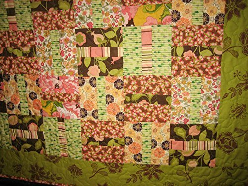 """Modern Baby Quilt Pink Brown Green, Baby Toddler Throw, 38 X 44"""", 100% cotton fabric"""
