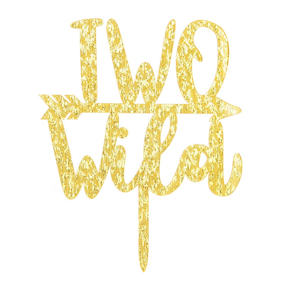 Gold Glitter Wild Two With Arrow Cake Topper