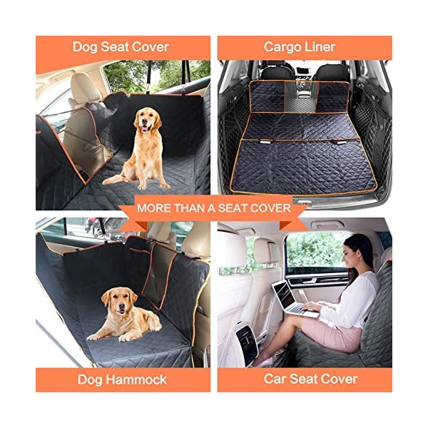 CLEEBOURG Dog Car Seat Cover Durable Scratchproof Waterproof Car Back Seat Cover for Dogs with Seat Anchors and 2 Dog Seat Belts, Dog Car Hammock for Different Cars 3