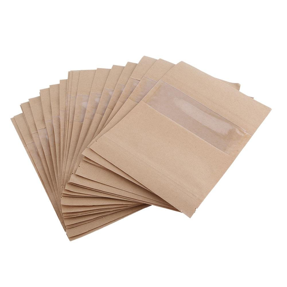 Kraft Paper Bags,Acogedor Waterproof Reusable Paper Bags for Food, Coffee, Nuts, Sugar, Tea Long Term Storage,4 Sizes Optional(3.54 * 5.51inch) Tea Long Term Storage, 4 Sizes Optional(3.54 * 5.51inch)