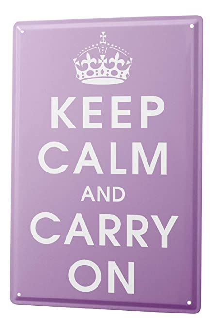 Amazon.com: Cartel de chapa refranes Keep Calm And Carry On ...