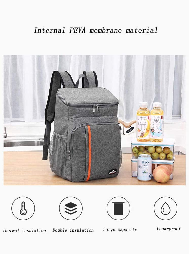 Wine Cooler Bag Wine Tote Bag Picnic Set Suitable For Family Picnic Travel Backpack-Gray