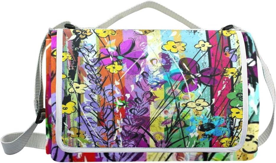 XINGAKA Coperta da Picnic Tappetino Campeggio,Lion Couple King Animal Graffiti Art,Giardino Spiaggia Impermeabile Anti Sabbia 7