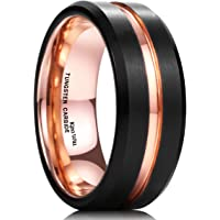 King Will Duo Mens 8mm Black Matte Finish Tungsten Carbide Ring 18K Rose Gold Plated Beveled Edge Wedding Band