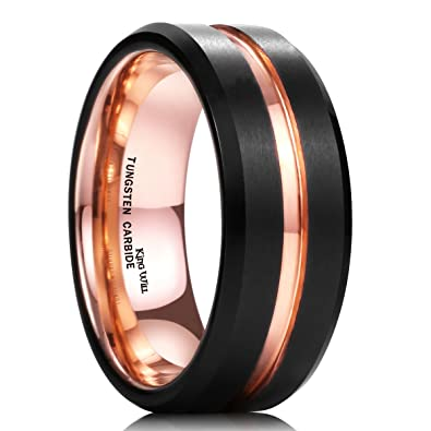 37fec97418fa King Will Duo Mens 8mm Black Matte Finish Tungsten Carbide Ring 18K Rose  Gold Plated Beveled