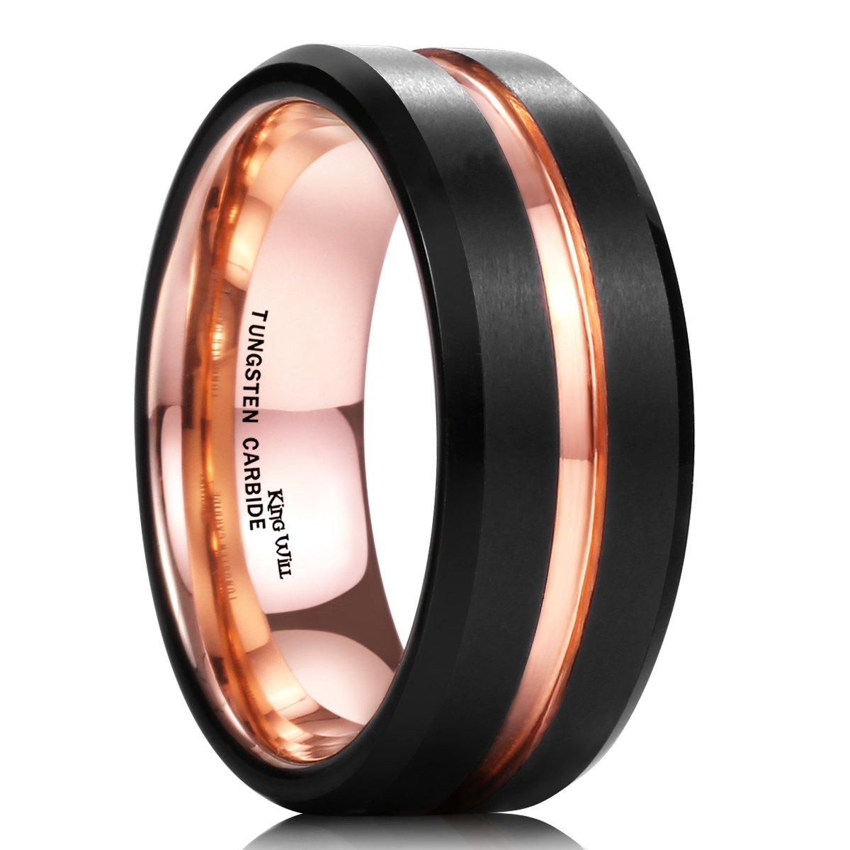 King Will Duo Mens 8mm Black Matte Finish Tungsten Carbide Ring 18K Rose Gold Plated Beveled Edge Wedding Band 10