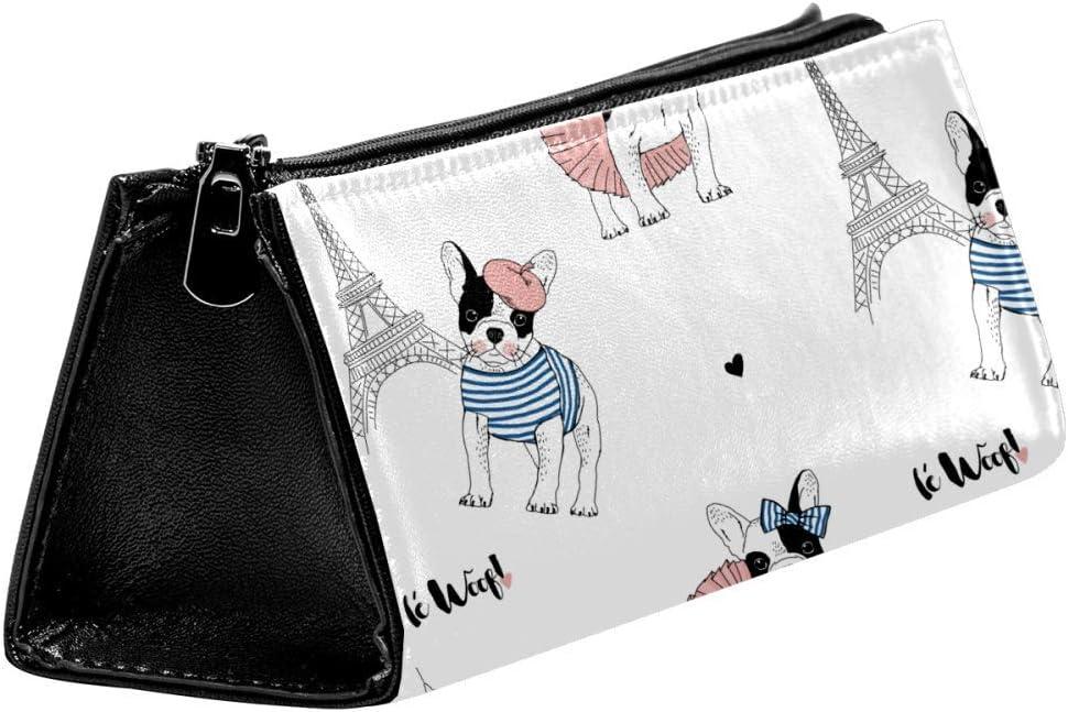 EZIOLY French Bulldog Paris - Estuche para lápices y cosméticos, diseño de bulldog francés: Amazon.es: Oficina y papelería