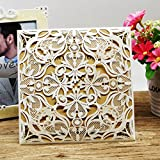 Laser Cut Invitations 50 Pack FOMTOR Laser Cut Wedding Invitations Card Kit with Blank Printable Paper and Envelopes for Wedding,Birthday Parties,Baby Shower (White)