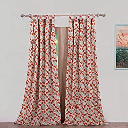 Vintage Country Floral Print Pattern Flowers Orange Red Blue Green Tab Top Window Curtains Panels Pair 84 Length Set of 2