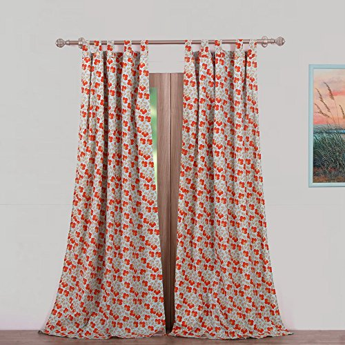 Vintage Country Floral Print Pattern Flowers Orange Red Blue Green Tab Top Window Curtains Panels Pair 84 Length Set of 2 Flower Panels Set