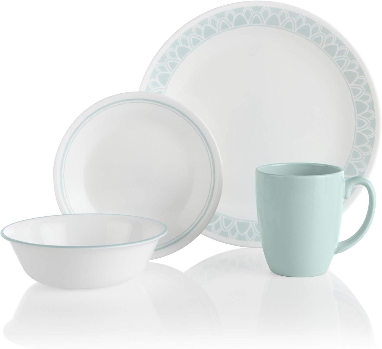 Corelle Delano Chip & Break Resistant 16pc Dinner Set, Service for 4, Vitrelle glass