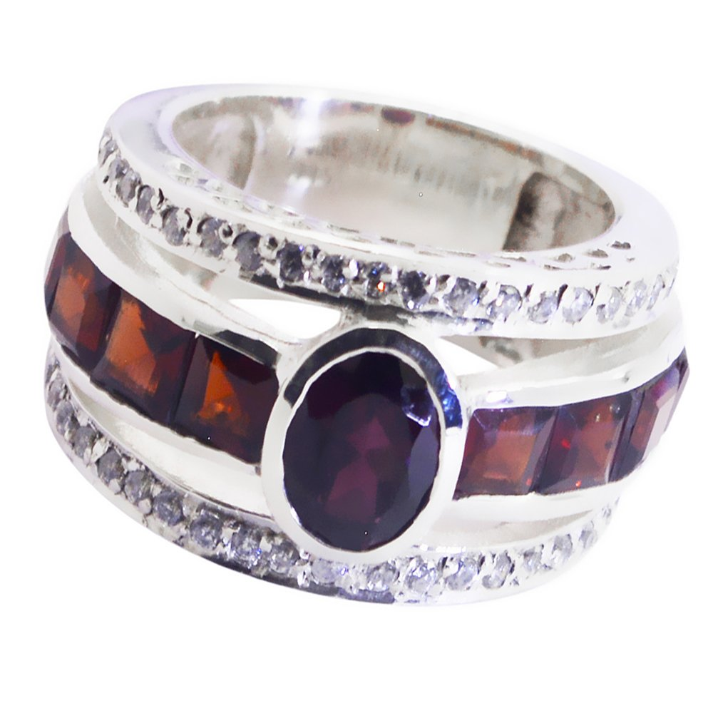 CaratYogi Fine Garnet Solid Silver Ring Oval Shape Cluster Style Trending Versatile Ornament Size 5 to 12