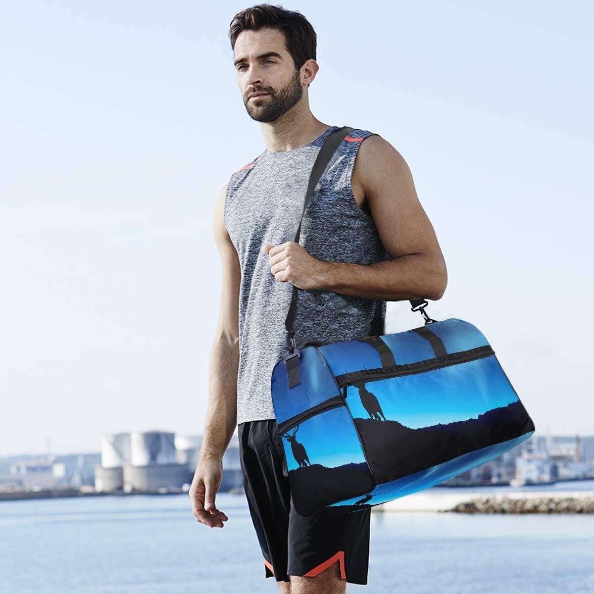 MALPLENA Deer Animal Wallpapers Packable Duffle Bag For Men Women Tear Resistant Sports Duffle