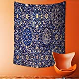 Analisa A. Houk Tapestry Wall Hanging gold and blue ceiling in a muslim mosque islamic traditional religious Wall Tapestry for Bedroom Dorm Decor 59L x 80W Inches