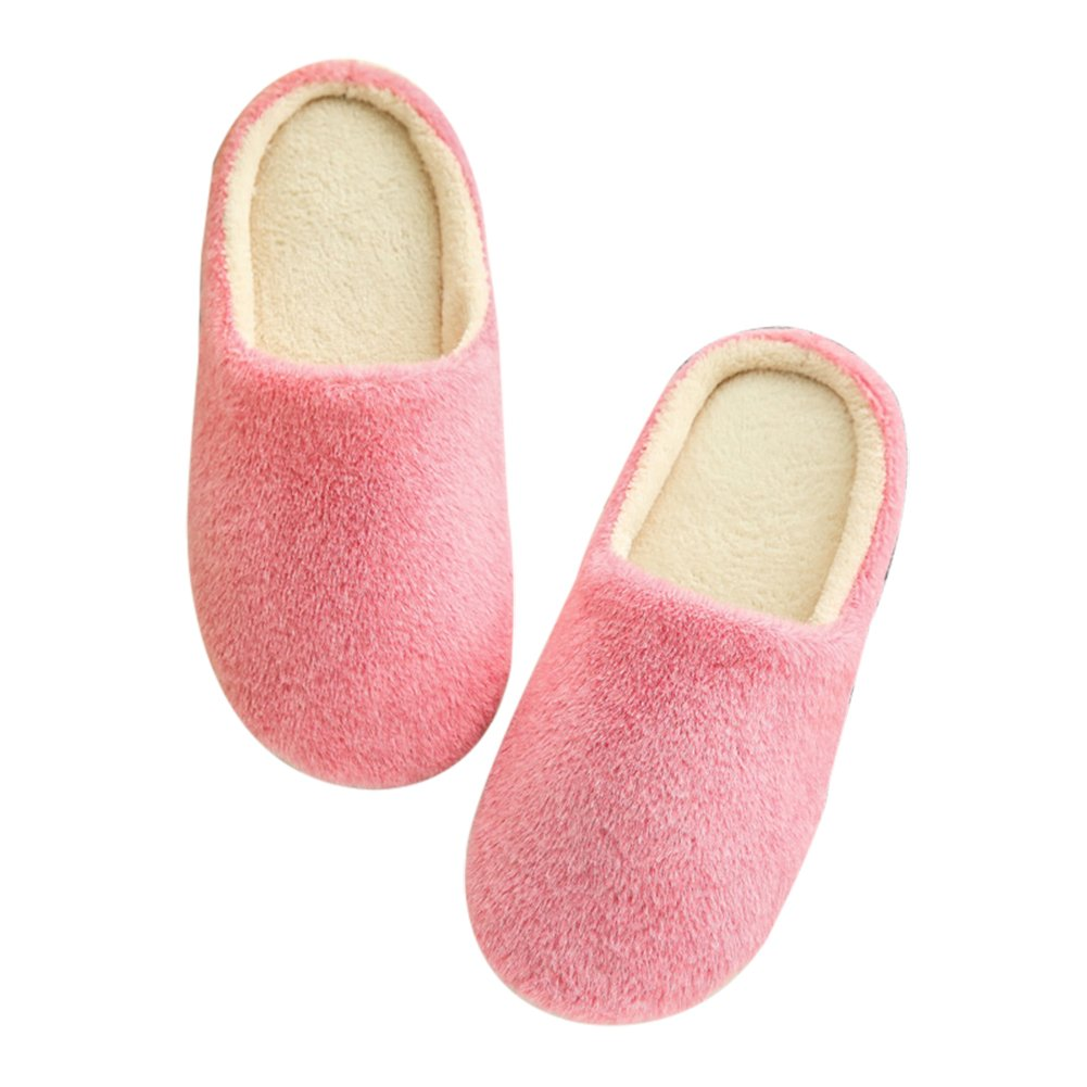Shineweb Soft Home Non-Silp Pure Color Winter Warm Slippers Indoor Shoes Pink 36/37