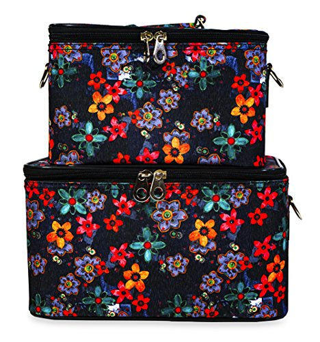 Jenzys Cosmetic Train Case Set (Retro Floral) by Jenzys