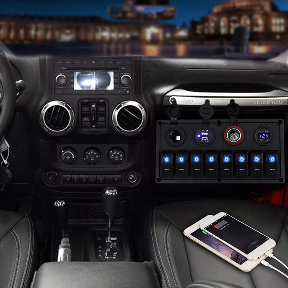 barco CT-CARID Panel de 8 interruptores panel de interruptores para coche 4 en 1 multifunci/ón caravana cami/ón veh/ículos