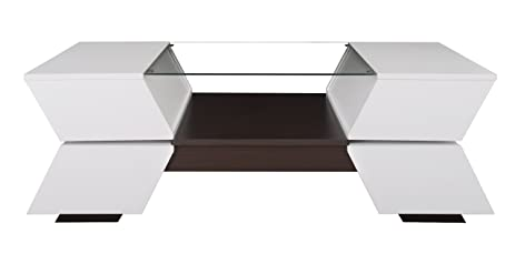 IoHOMES Ariadne 4 Compartment Coffee Table With Glass Insert, White And  Walnut Finish