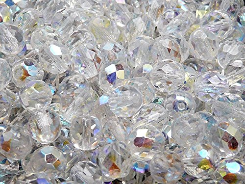 25pcs Czech Fire-Polished Glass Beads Faceted Round 8mm Crystal AB