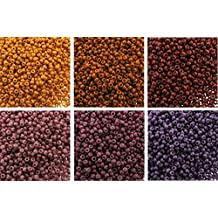 "Sunset Ombre Bundle: 6 Color Mix Miyuki Round Rocaille Seed Beads Size 11/0, Each in 2"", 8.5 Gram Tube"