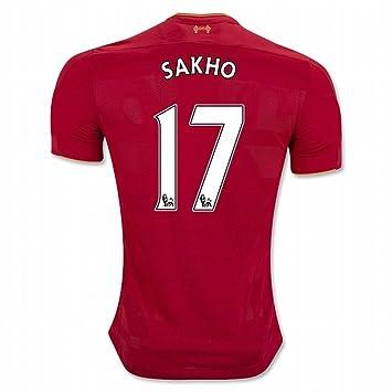 2016 2017 Liverpool FC Camiseta de 17 Mamadou Sakho casa fútbol Jersey de flores en rojo