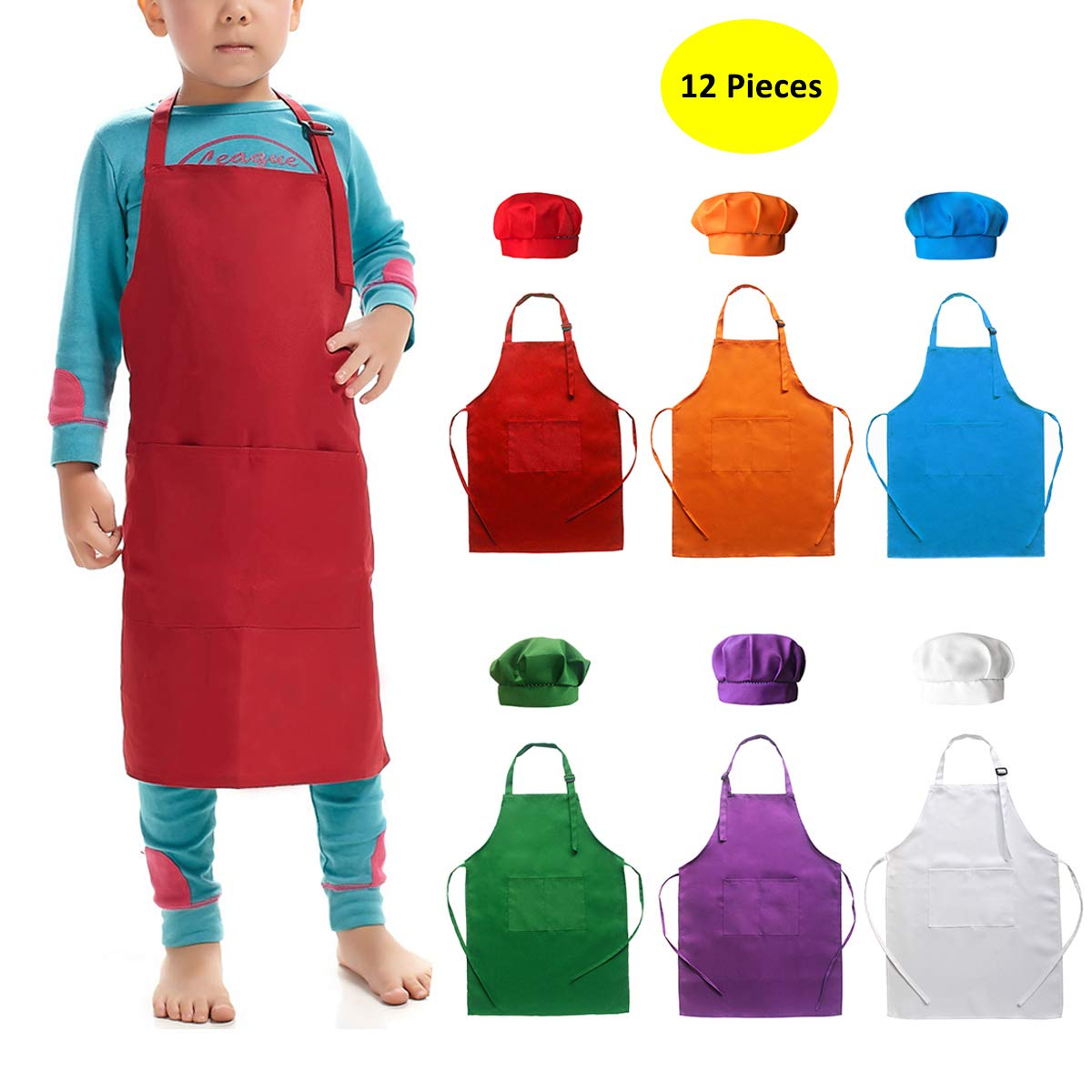 good texture wholesale online separation shoes Hi loyaya 6 Pack Adjustable Children Chef Apron Set for Cooking Baking  Painting Art Kids Chef Hat and Apron with 2 Pockets (Multicolor, M)